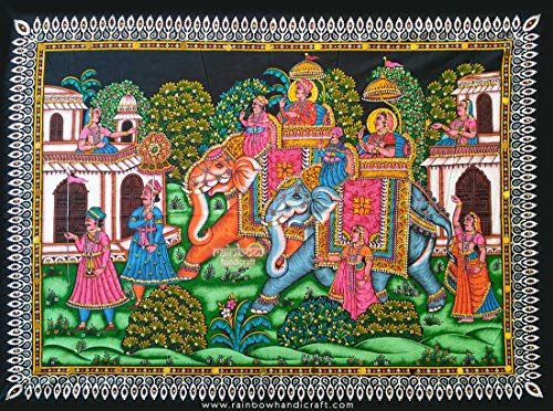 Rainbow Handicraft Mughal King Elephant Ride Sequin Wall Hanging Royal Ethnic Tapestry Home Decor Art 31