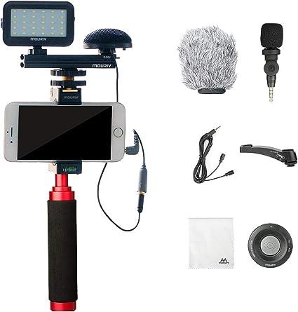 Mouriv PV-2 Kit de video para smartphone con Grip Rig, micrófono omnidireccional, luz LED y control remoto inalámbrico para YouTube Vlogging Facebook para iPhone 6, 7, 8, X, XS, Samsung Galaxy Phone: