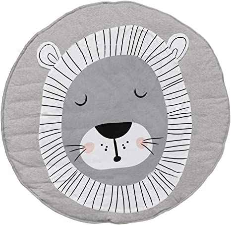 Satbuy Cotton Kids Round Play Mat Nursery Rug ABC Alphabet Pattern Baby Crawling Pad Infant Play Mat Floor Playmats Washable Game Blanket Tummy Time Baby Play Mat