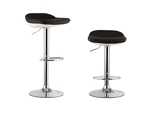 Waroom Home Barstools Set of 2, Adjustable Height Swivel Pub Bar Stools with PU Leather Seat and Chrome Footrest, Backless Breakfast Kitchen Chair A- Black