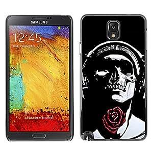 Paccase / SLIM PC / Aliminium Casa Carcasa Funda Case Cover - Rose Headphones Black Skull Music - Samsung Note 3 N9000 N9002 N9005