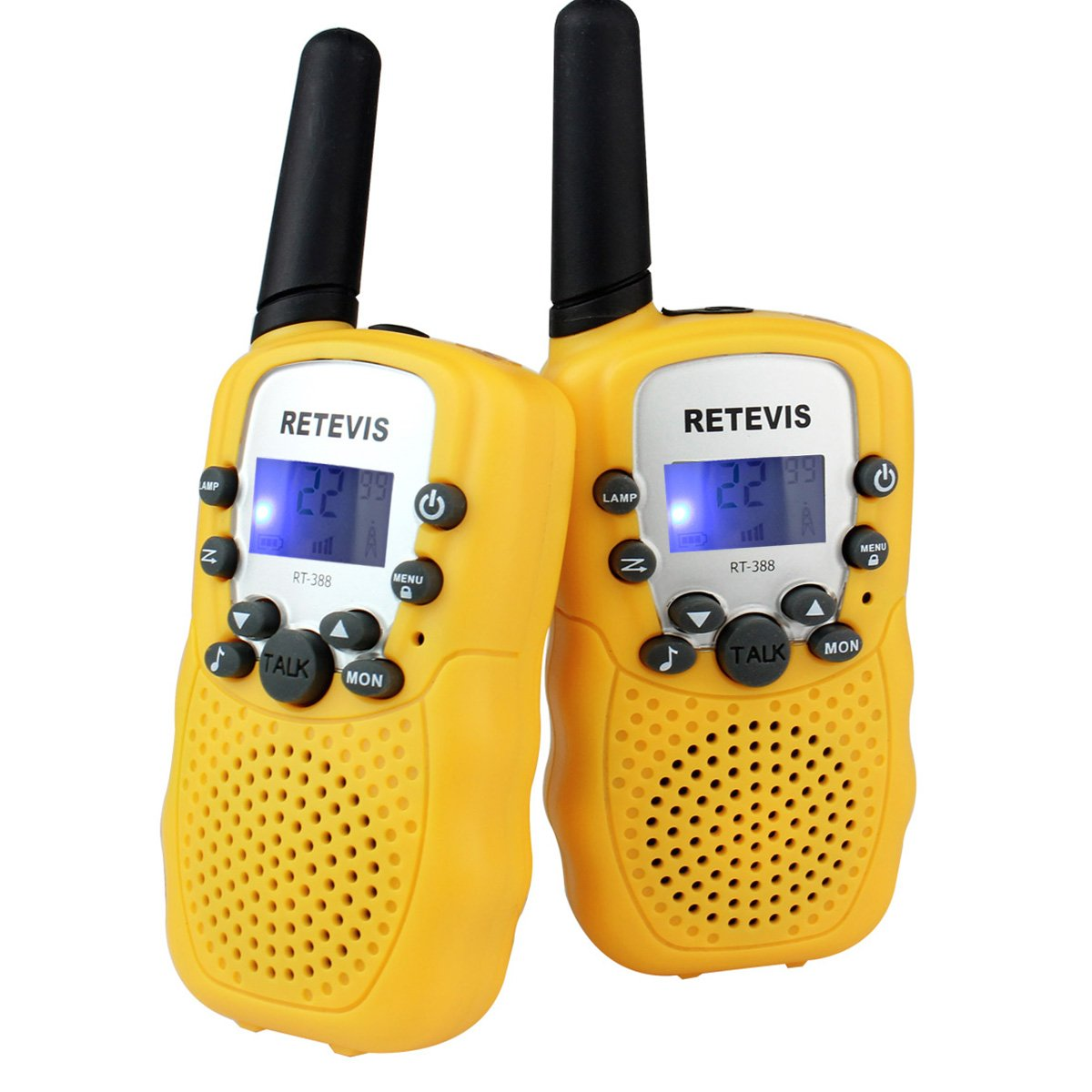 Retevis RT-388 Kids Walkie Talkies FRS 22CH LCD Display Flashlight VOX Toy for Kids(Yellow,1 Pair)