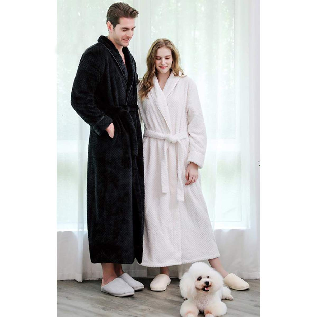 JUNMAONO Bata para Hombre Mujer Algodón, Largo Albornoz Kimono ...