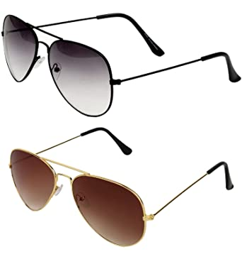 cc9d0d2ab5f SHEOMY COMBO OF STYLISH BLACK WHITE AVIATOR AND GOLDEN BROWN AVIATOR  SUNGLASSES WITH 2 BOX Best Online Gifts  Amazon.in  Clothing   Accessories