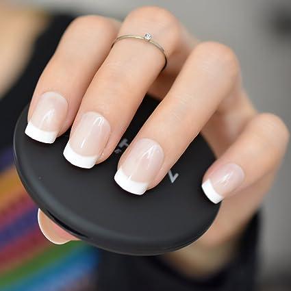 EchiQ - uñas postizas acrílicas de color blanco natural con punta ...
