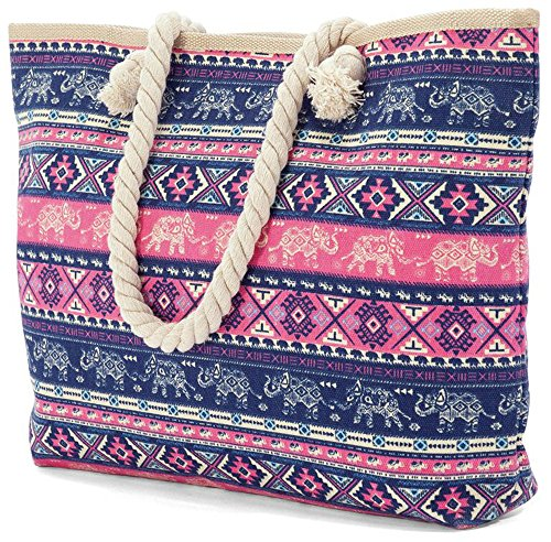 shell Rope With anchor Canvas Beach Soft Elephant Bz4807 Pink Handles Bag Large Aztec nqaTHwSx