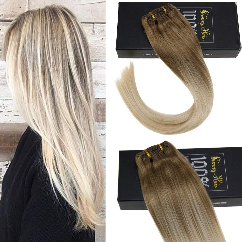 Amazon Com Sunny 18 7pcs 120gram Seamless Clip In Hair Extensions