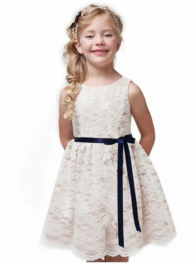 Shop Ginger Wedding Ivory Flower Girl Dress Lace Bow Sash Children Communion D6 (3T, Navy Ribbon)