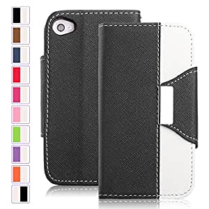 SeaPlays PU Leather Wallet Type Magnet Design Flip Stand Case Cover For iPhone 4S 4 4G (Black)
