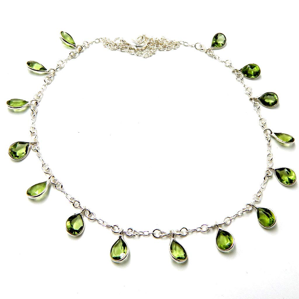Pratik-Jewel Green Amethyst Quartz 925 Sterling Silver Plated Handmade Jewelry Chain Necklaces 8 Gm AC1