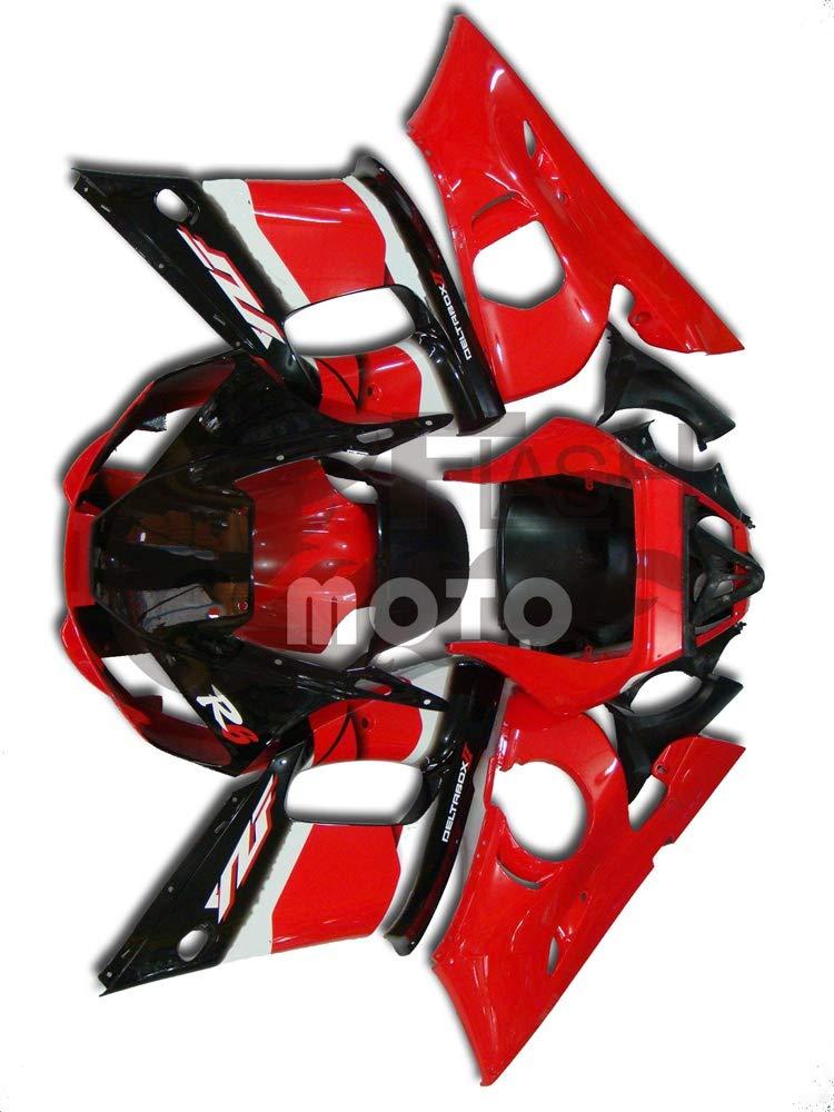 FlashMoto yamaha ヤマハ R6 YZF-600 1998 1999 2000 2001 2002用フェアリング 塗装済 オートバイ用射出成型ABS樹脂ボディワークのフェアリングキットセット (レッド,ブラック)   B07LF2QR71