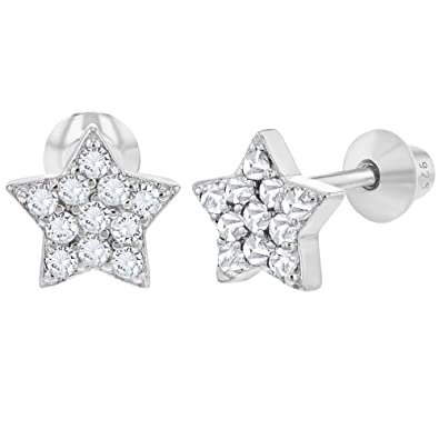 eb7d0f59f 925 Sterling Silver Star Earrings Clear CZ Screw Back Baby Infant Little  Girls: Amazon.co.uk: Jewellery