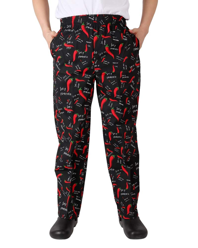 Men's and Women's Baggy Printed Chef Pants Kitchen Uniforms with Elastic Waist Pants Chili L by Nideen