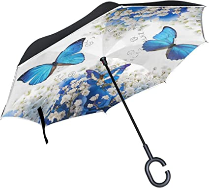 Colored Butterflies Rainproof and Windproof UV Protection Double Layer Folding Inverted Umbrella with C-Shaped Handle Reverse Umbrellas For Car Rain Outdoor