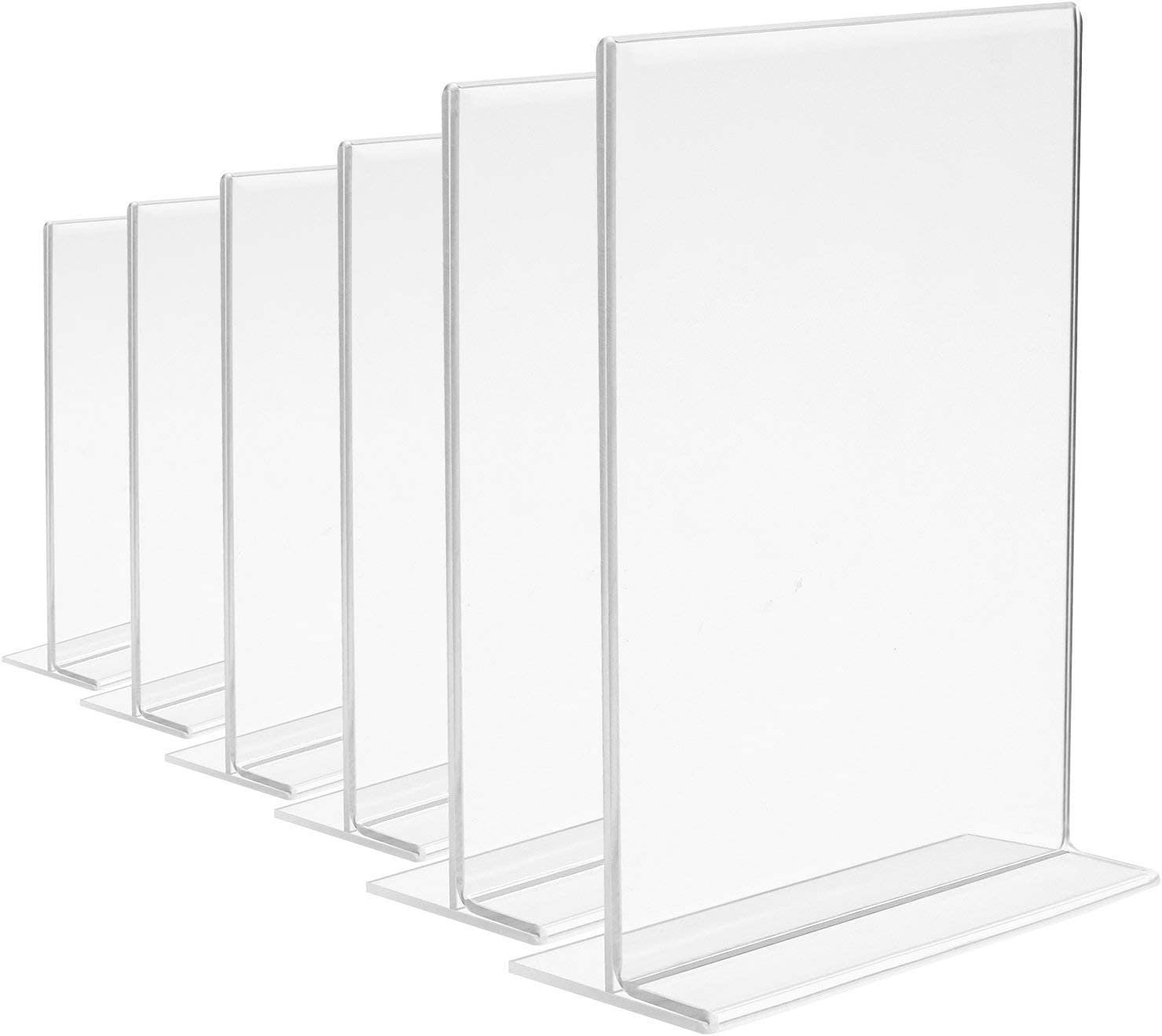 Acrylic Sign Holders, MeetU 8.5 x 11 Letter Size Ad Frame Double Sided Plastic Picture Frames Desktop Photo Frames Thick T Shape Vertical Advertisement Display Menu Card Holder (Pack of 6)