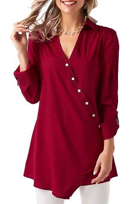 Nuevo rollo de color rojo con pestaña, manga larga, botón asimétrico, blusa para
