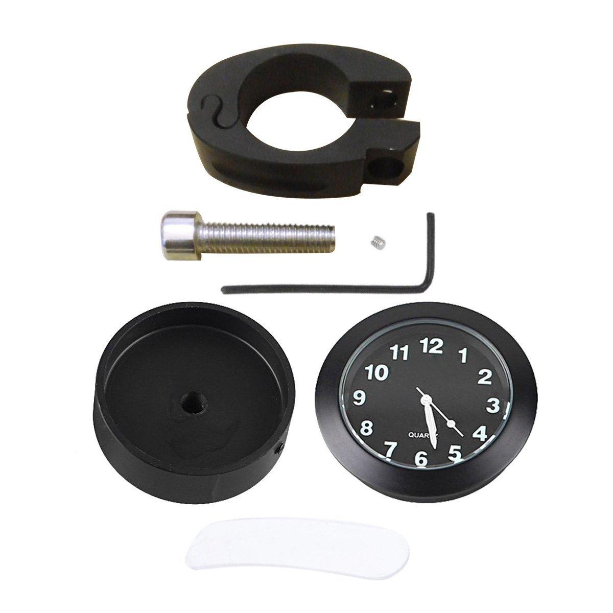 Universale 7//8 1 Manopole Cromoato Orologio Meridiana Alluminio Con Morsetto per Waterproof Motorcycle Handlebar Clock Yooap Orologio moto