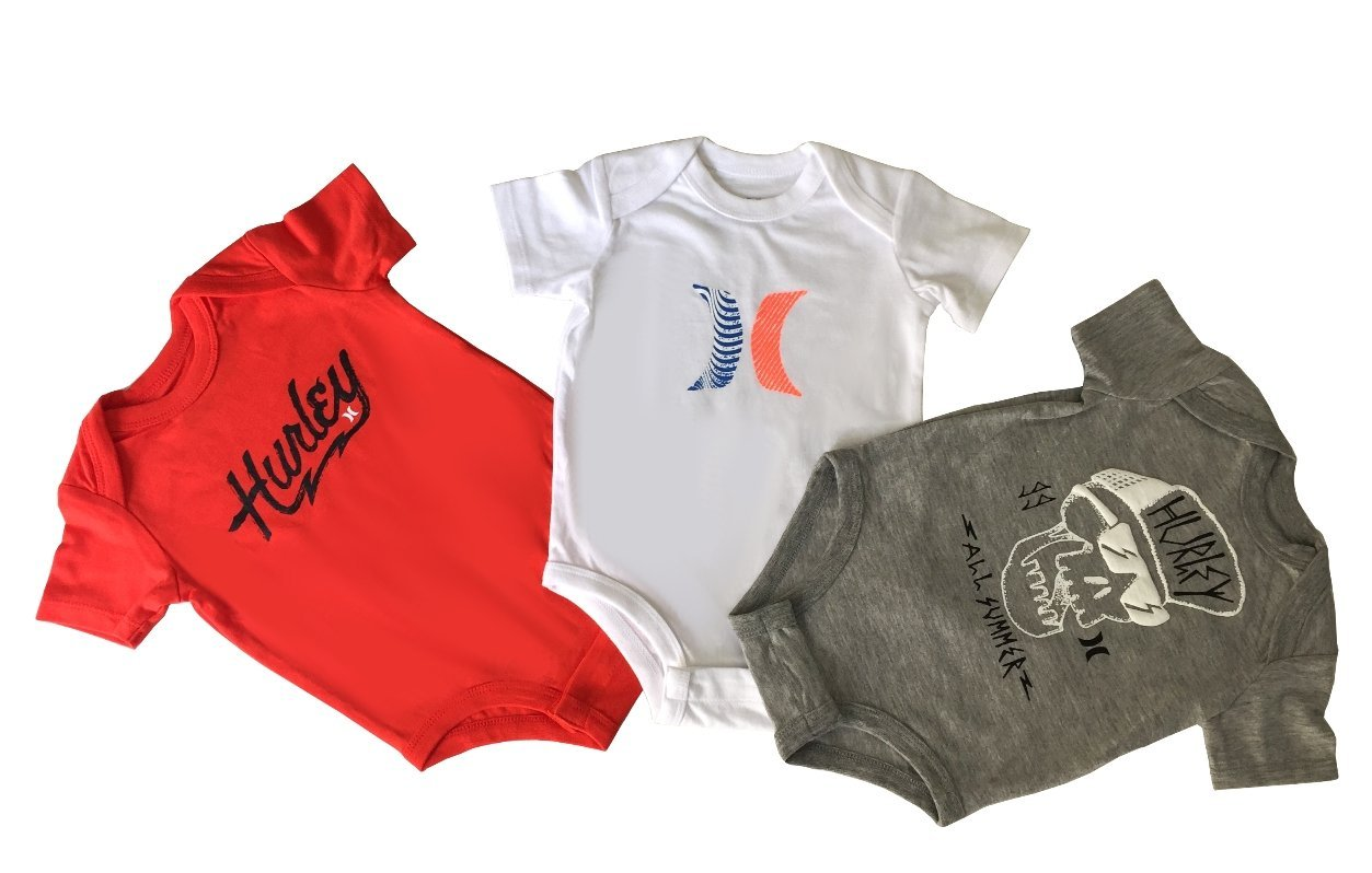 Hurley Infant Layette 3 Pcs Bodysuit Set (0/3M)