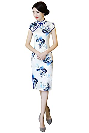 e5e027cbdf2 Shanghai Story Chinese Style Oriental Dress Knee Length Cheongsam Qipao S  White