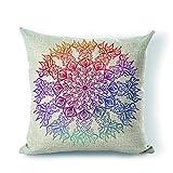 StarflowsS Pillow Cover Mandala Pillowcase Cotton Linen Decorative Throw Pillow Case Cushion Cover 26x26 Inches