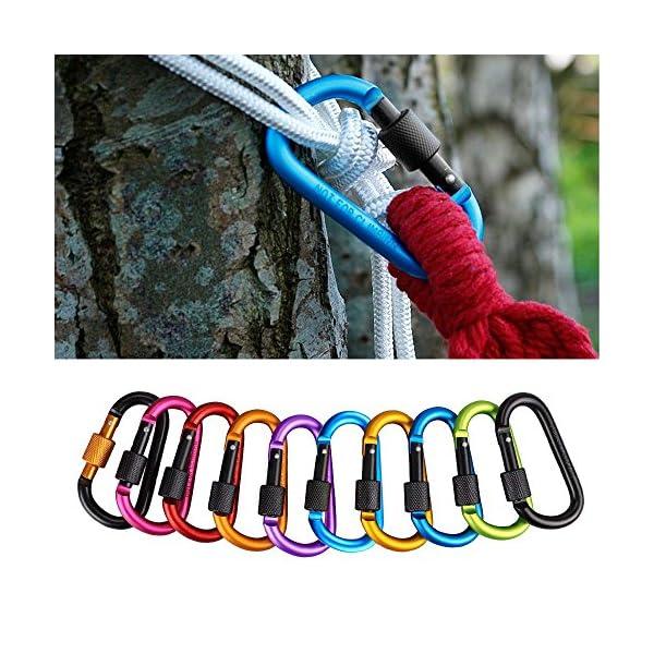 mixigoo Mosquetón, 10 PCS Mosquetón Escaladas Aleación de Aluminio D Gancho Llavero del Clip para Camping, Pesca, Mochila, Senderismo 6