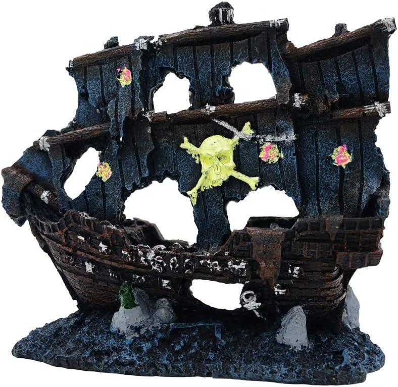 JUFENG PET Aquarium Pirate Ship - Fish Tank Pirate Ship Decoration - Delicate Aquarium Ship Decorations