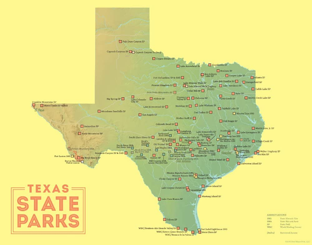 Amazon Com Best Maps Ever Texas State Parks Map 11x14 Print