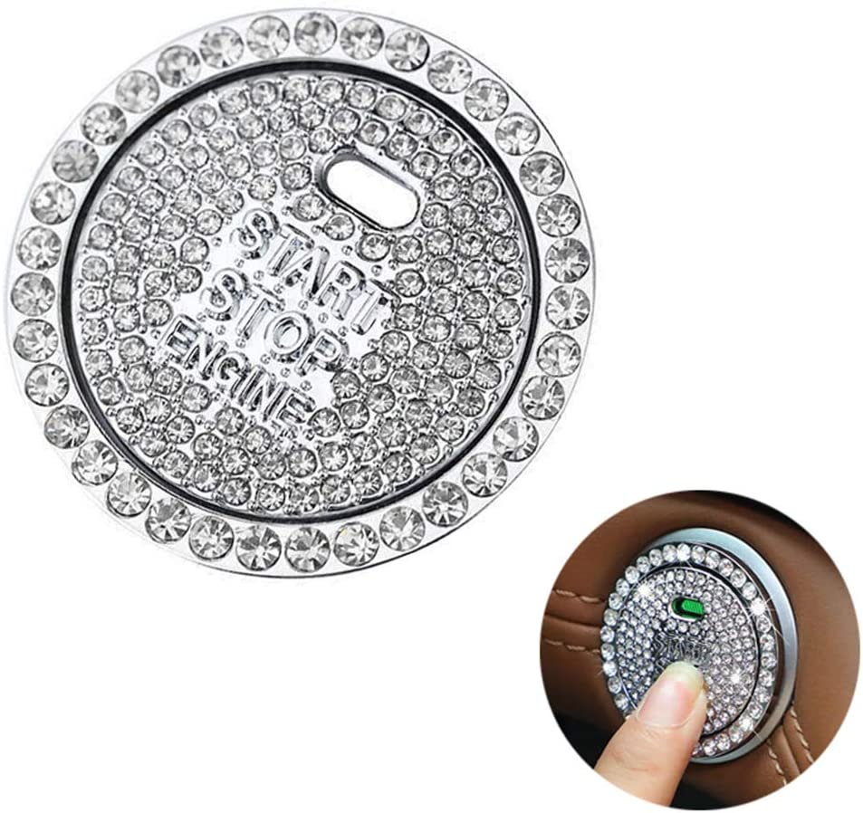 Quentacy Car Engine Start Stop Ignition Push Button Emblem Sticker Bling Crystal Rhinestone Cover Protector Ring Sticker Exquisite Decorative Car Accessories Silver