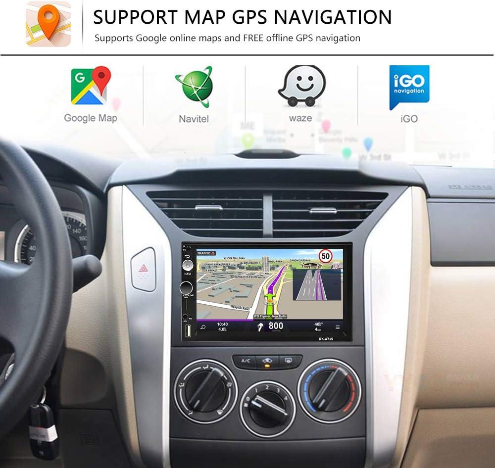 Youyuekeji Android 9.1 Autoradio 2 DIN Navigation GPS Cam/éra de recul Volant T/él/écommande 7 Pouces HD /Écran Tactile Car St/ér/éo WiFi//Bluetooth Autoradio Mains Libres avec Radio FM//USB//TF//AUX