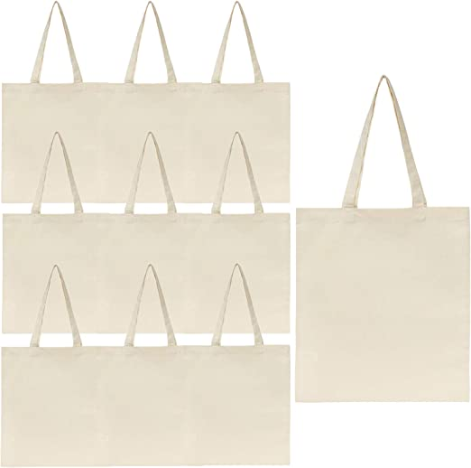 Solid Color Pure Cotton Plain Canvas Blank Tote Bag Shopping for DIY Design