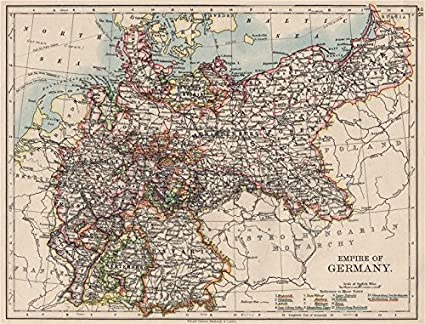 Map Of Germany 1900.Amazon Com Empire Of Germany States Prussia Bavaria Alsace