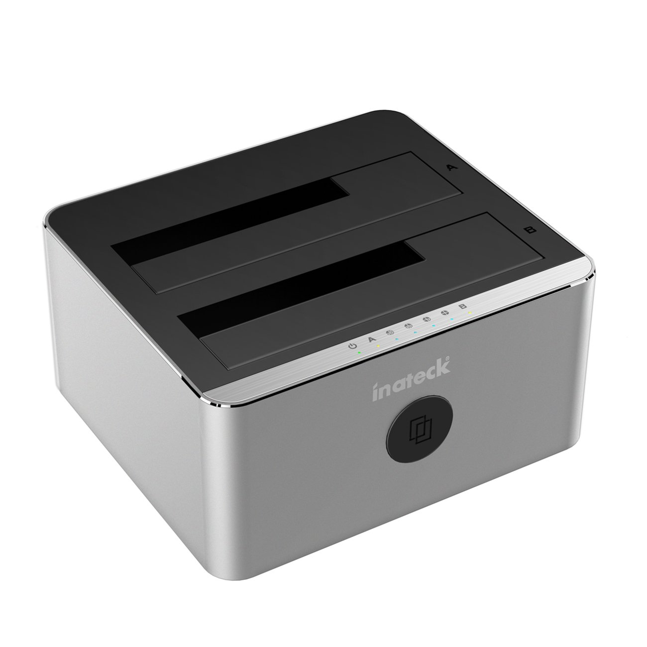 Inateck FD 2102 Hard Drive Docking Station USB 3.0 a SATA Dual-Bay USB 3.0 con funzione clone Offline per HDD SSD SATA (SATA I/II/III) da 2.5 e 3.5 pollici. Supporta 2 x 8TB e UASP tool- free FD2102