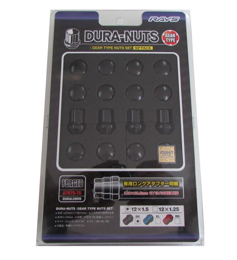 【RAYS(レイズ)】 ジュラルミンナットセット ギアタイプ(ショート) M12X1.5 BK(ブラック) 16個セット 74012000001BK B00UTDJZJA