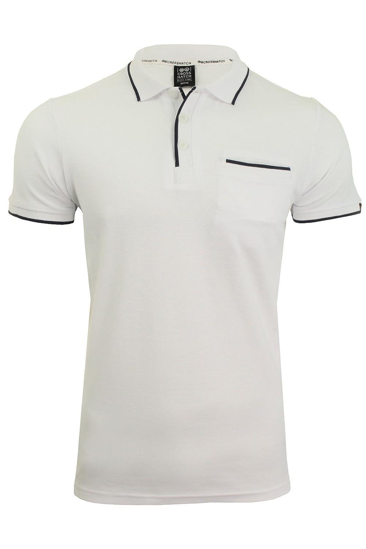 Crosshatch Hombre Acanalado Collar de Puño de Bolsillo Polo Camiseta D96AZ3HPo6