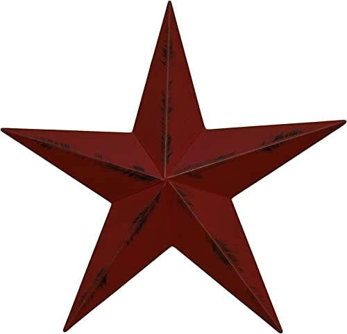 AMISH WARES 32 Inch Heavy Duty Metal Barn Star Painted Rustic Cranberry.