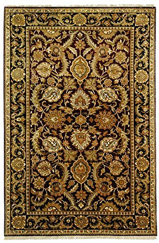 Safavieh Dynasty Collection DY244A Hand-Knotted Burgundy and Black Premium Wool Area Rug (6' x 9')