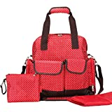 Giwox Diaper Bag Backpack Baby Bag Maternity Bag Polka Dot Pattern 14 Separated Pockets 3 Carrying Methods Protable Multifunctional Use with Diaper Mat and Storage Pouch (Red)