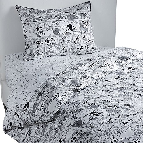 Ethan Allen | Disney Mickey Mouse Comic Strip Duvet Cover, Mickey's Ears (Black), King (King Bedding Minnie Mouse Size)