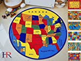 Handcraft Rugs Educational Rugs United States Map for School Classroom /Game Carpets for Kids Toy Kids learning rug Kids Floor Rug