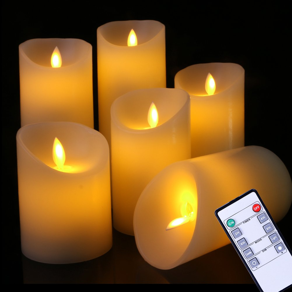 Flameless Candles Flickering Light Pillar Real Smooth Wax with Timer and 10-key Remote for Wedding,Votive,Yoga and Decorationset of 6