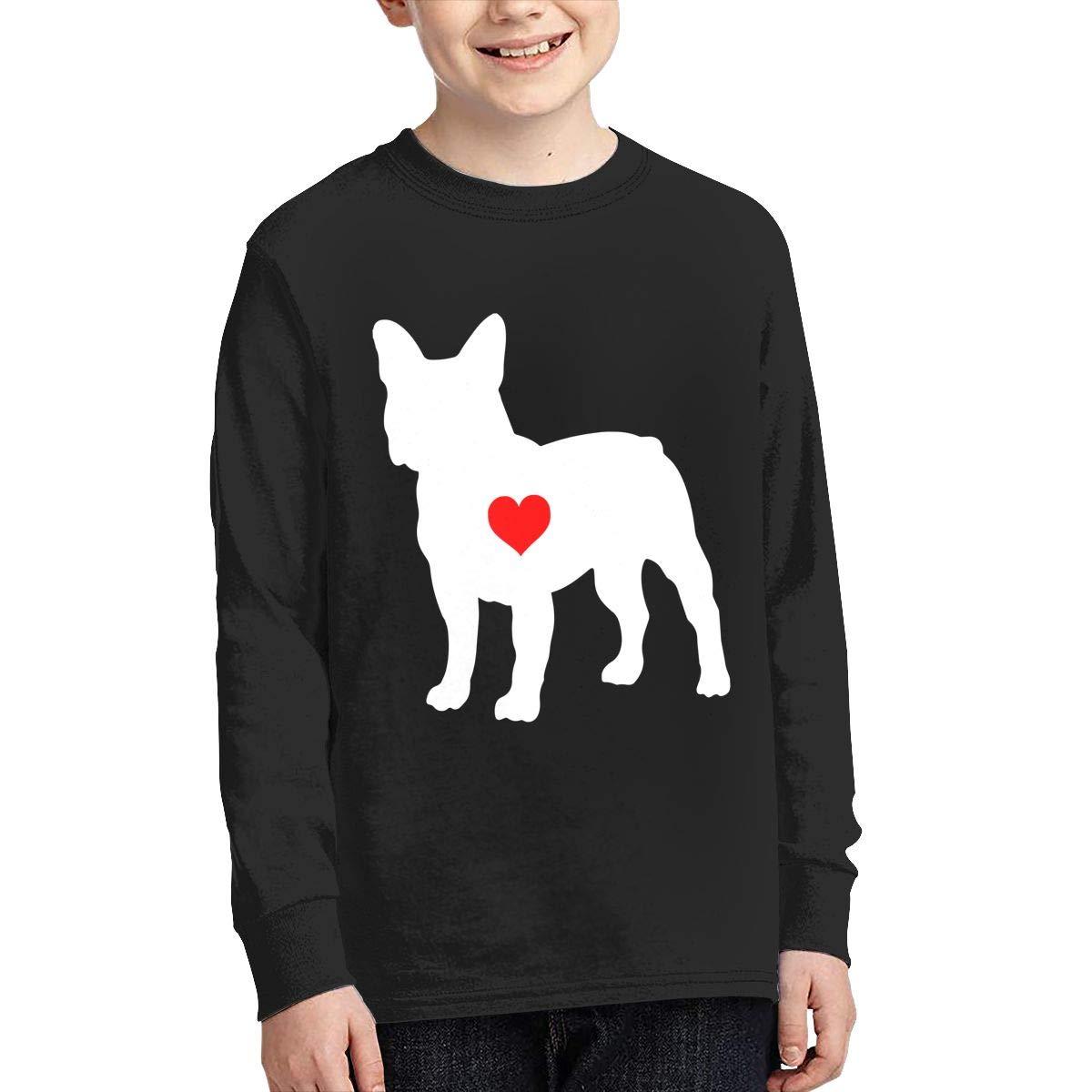 Teenagers Teen Boy French Bulldog with Heart-1 Printed Long Sleeve 100/% Cotton Tee Shirt