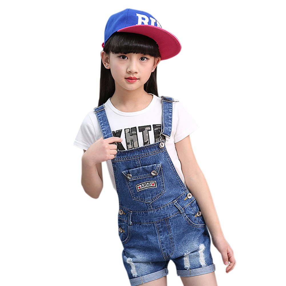 Summer Girls Overalls Denim Jeans Bib Pants Kids Ripped Holes Trousers