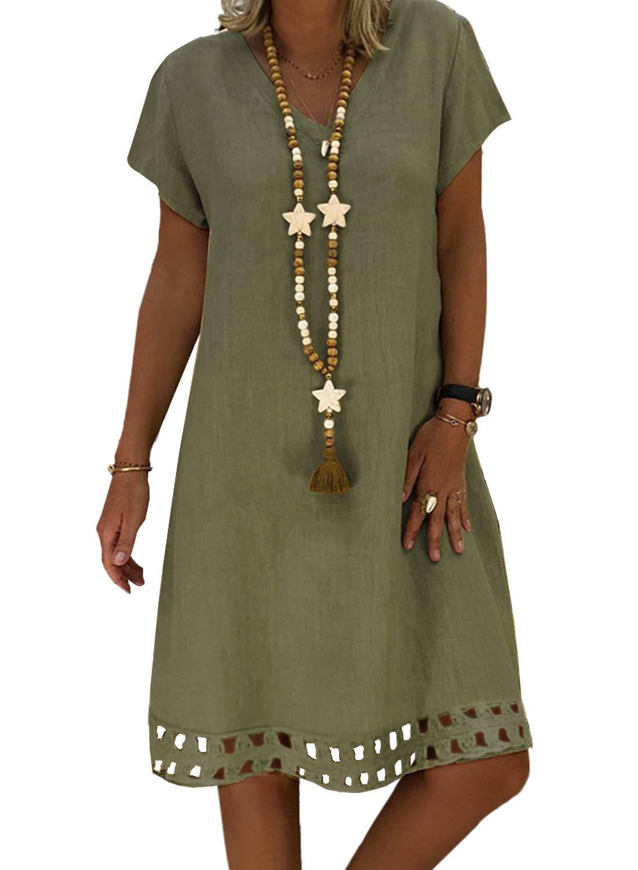 89f2dd1d091 Women s Short Sleeve V Neck Casual Summer Dress - RELAX.MODA