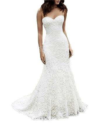 Mriza Women s Simple Mermaid Beach Wedding Dress Lace Sweetheart Bridal Gown  Ivory 0 79f37aad81