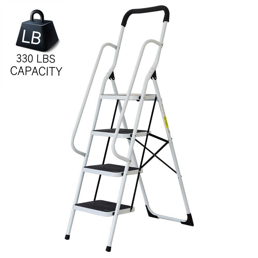 Livebest 4 Steps Ladder Folding Step Stool with Hand Grip Non-Slip Safety Rails Portable Heavy Duty 330 lb Load Capacity,Iron