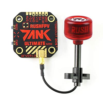 Rush Tank Mini FPV Transmitter 5.8GHz 48CH PIT/25/200/500/800mW VTX Video Transmitter 20x20mm External-Audio MMCX Connector with Rush Cherry Antenna 5.8GHz RHCP for FPV Racing Drone: Toys & Games