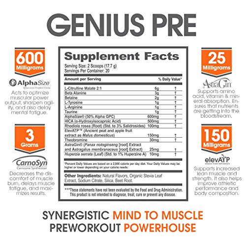 Genius Pre Workout – All Natural Nootropic Preworkout Powder & Caffeine Free Nitric Oxide Booster with Beta Alanine and Alpha GPC Focus, Energy and Muscle Building Supplement, Grape Limeade, 338G