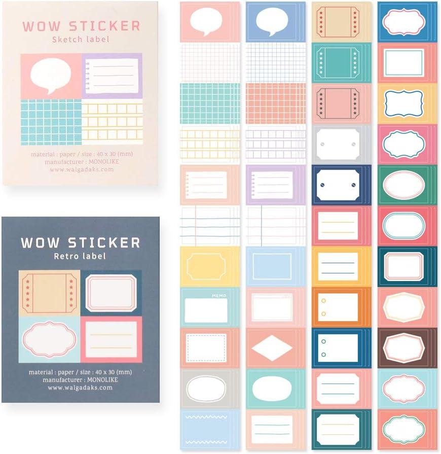 Monolike Wow Sticker Sketch Label + Retro Label Set - Mini Size Cute Stickers, Square Stickers