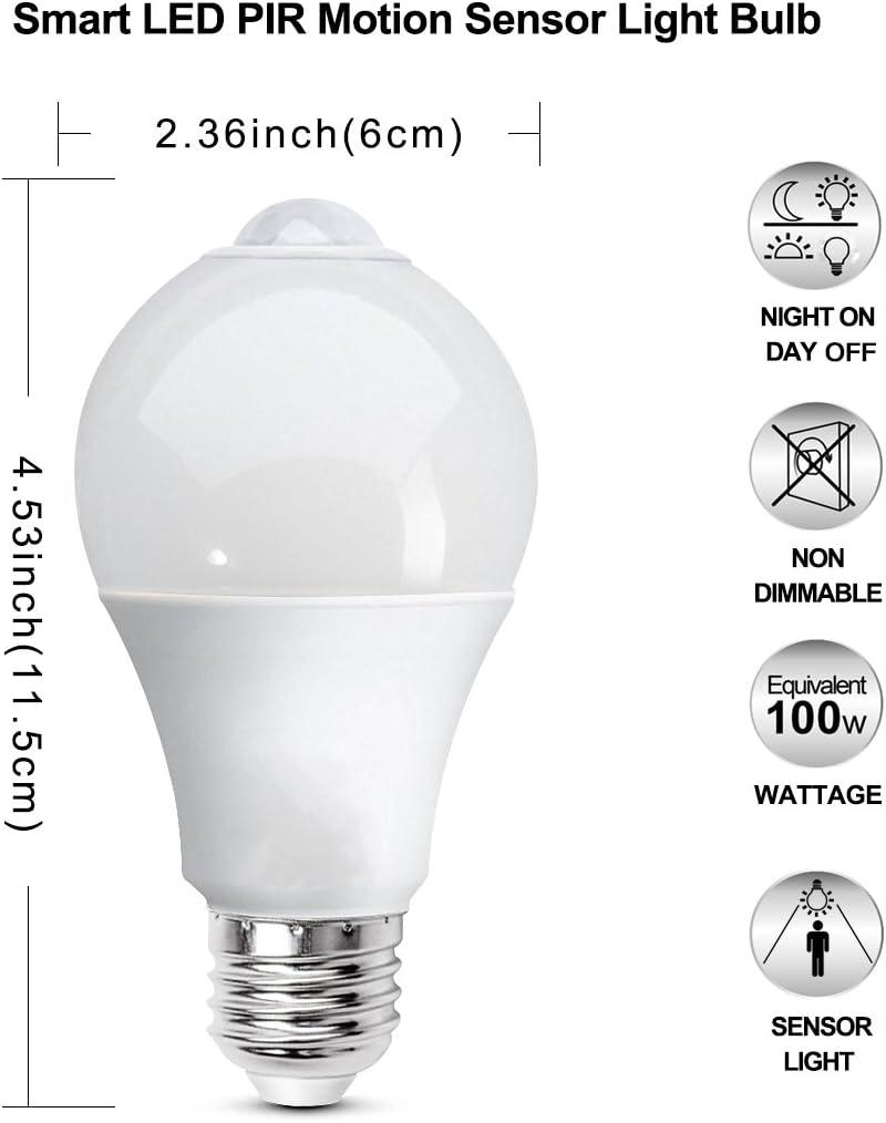 Houkiper LED-Birnen-Licht Cool White 12W E27 LED-Birnen-Licht-Sensor PIR-Sensor Wechselstrom 85-265V Energiesparende LED-Lampen-Birne 6000K k/ühles Wei/ß f/ür Innenbeleuchtung Lampe in der Portal-Gang-Patio-Garage