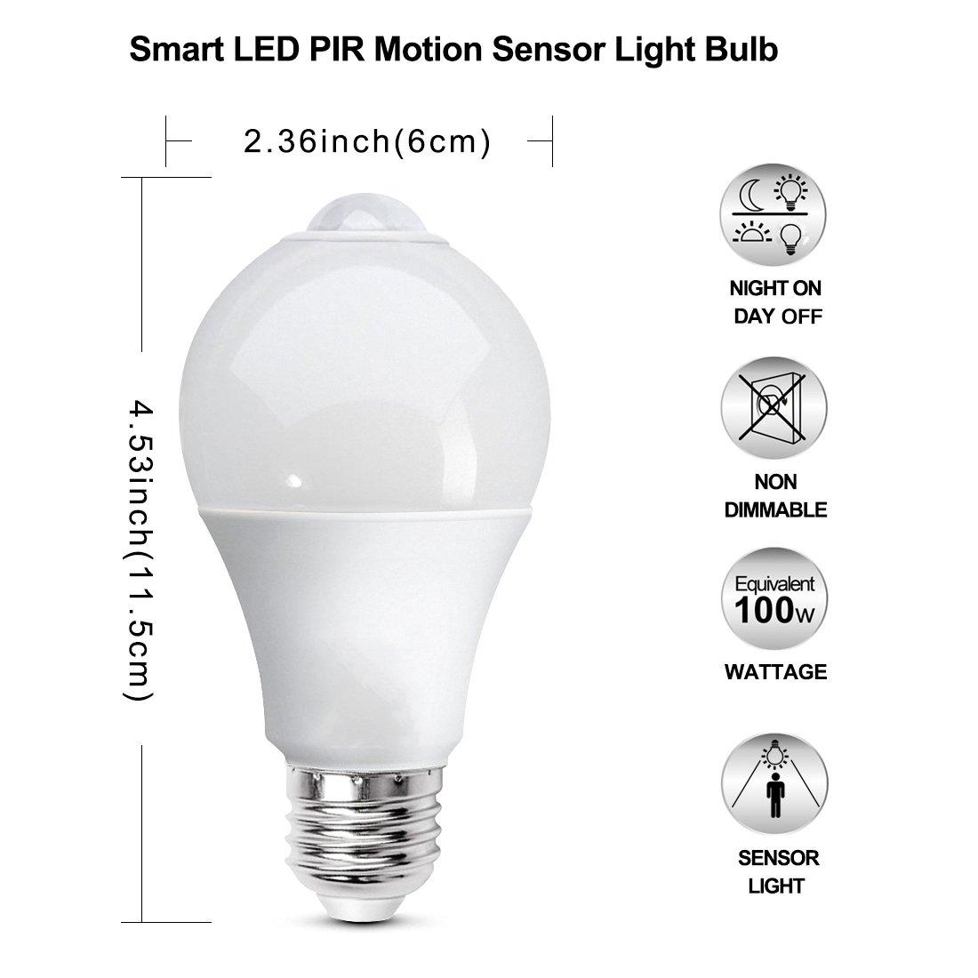 BRTLX E27 Ampoules LED 1040LM 13W PIR Infrarouge D/étecteur de Mouvement A60 E27 220V Blanc Chaud 3000K Auto on//off pour Escaliers Garage Couloir Lot de 2